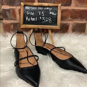 New Halston Heritage Studded Ankle-Strap Flat
